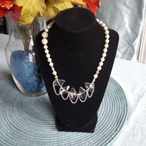 Jewelry - Faux Pearl and Glass Necklace